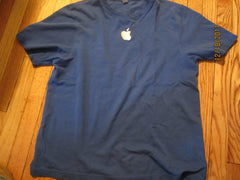 Apple Embroidered Logo Blue T Shirt Large