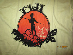 FIJI Pearl Of The Pacific Vintage Yellow T Shirt Large