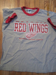 Detroit Red Wings Logo Grey Ringer T Shirt Large