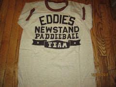 Eddie's Newstand Paddleball Team Vintage 70's Ringer T Shirt Large