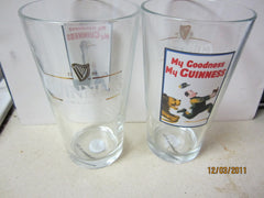 "Guinness Vintage Ad Poster ""Bear Chasing Man"" Pint Glass"