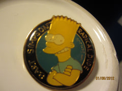 The Simpsons Bart Simpson Radical Dude Cloisonne Style Metal Pin 1990