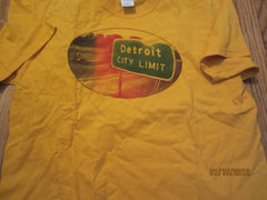 Detroit City Limit Sign Yellow T Shirt XL