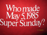 Dallas Morning News Who Made May 5, 1985 Super Sunday? Vintage T Shirt Medium