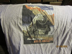 Canadian Pacific Railway Vintage Poster Grey T shirt Medium