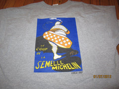 Michelin Tires 1905 Vintage Poster Grey T Shirt XL
