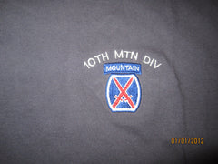 10th Mountain Division Embroidered Logo Grey T Shirt XXL