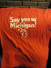 Say Yes To Michigan Vintage Ad Campaign T Shirt Large