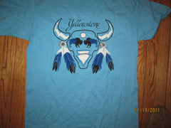 Yellowstone National Park Vintage Lite Blue T Shirt XL