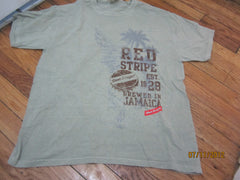 Red Stripe Beer Green T Shirt Large Jamaica