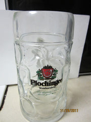 Plochinger Waldhornbrau 1 Liter German Glass Beer Stein