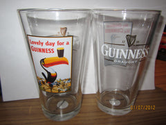 Guinness Old Toucan Ad Pint Glass Ireland Beer Srout Irish