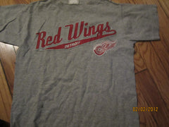 Detroit Red Wings Logo Grey T Shirt Kids Small
