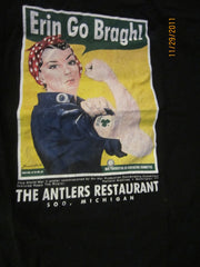 Erin Go Bragh Vintage Poster T Shirt XL Antlers Soo Michigan Beer