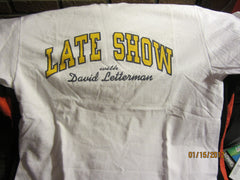 Late Show With David Letterman Logo White T Shirt Large