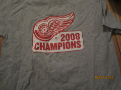 Detroit Red Wings 2008 Champions Grey T Shirt XL