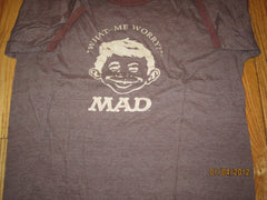 "Alfred E Newman ""What Me Worry?"" Born Ringer T Shirt XL Mad Magazine"