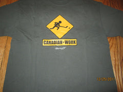 Banff Alberta Canadian At Work Sign T Shirt XL Hockey