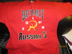 Detroit Red Wings Russian Five 5 T shirt XL