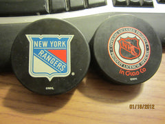 New York Rangers Logo Official Hockey Puck InGlasCo