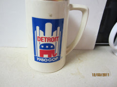 Republican National Convention 1980 Detroit Tall Ceramic Stein GOP