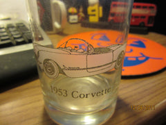1953 Corvette Etched Logo 4 Inch Tall Glass