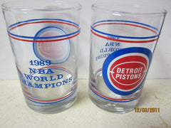Detroit Pistons Set Of Two 1989 NBA Champions Glasses Bad Boys