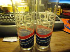 Diet Pepsi Vintage Set Of 2 Tall & Thin Logo Glasses