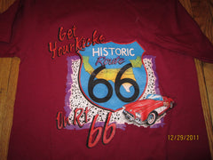 Route 66 Get Your Kicks Vintage Maroon T Shirt Medium