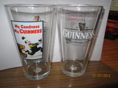 Guinness Bear Chasing Man Vintage Ad Poster Pint Glass Ireland Beer Stout Irish