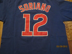 Chicago Cubs #12 Alfonso Soriano Blue T Shirt Medium Majestic
