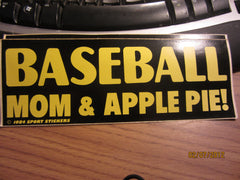 Baseball Mon & Apple Pie 1984 Bumper Sticker Black/Yellow