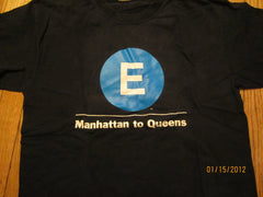 NYC Subway E Train Manhattan To Queens T Shirt Large