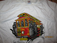 San Francisco Cable Car W/Cats T Shirt Large