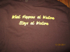 "Western Michigan Vintage ""What Happens At Western...."" Brown T Shirt Medium"