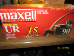 Maxell UR 90 Minute Cassette Tapes Sealed Box Of 15 Tapes