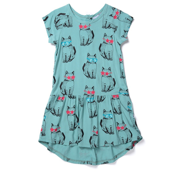 Minti - Cool Cats Woven Dress - Mint