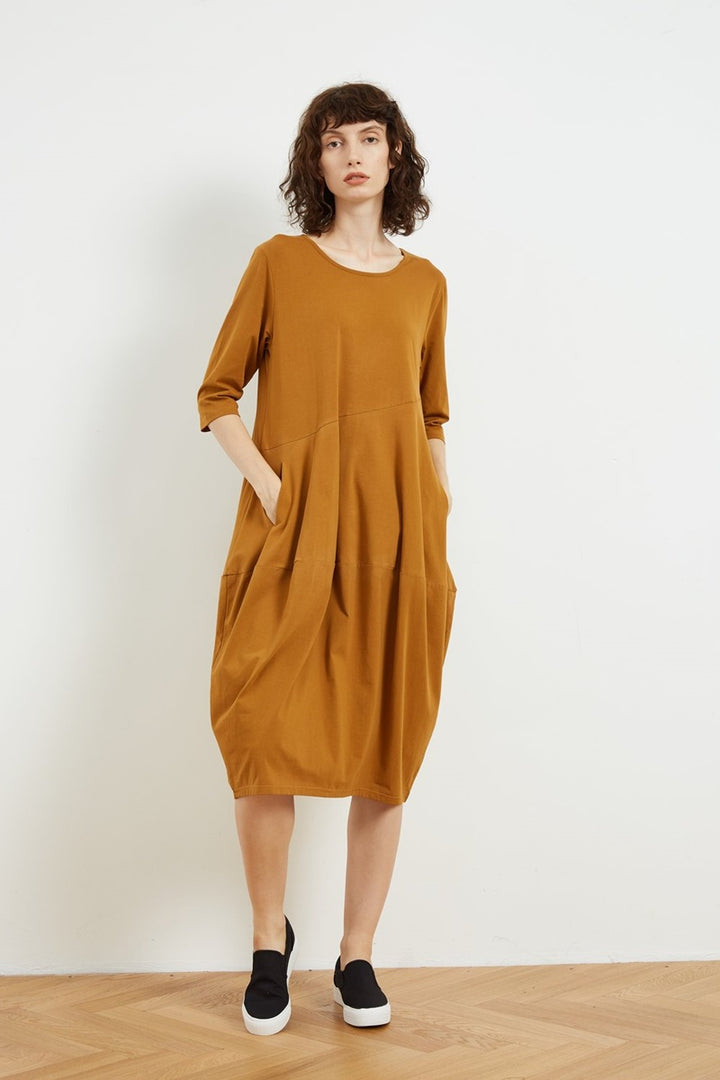 Tirelli - 3/4 Sleeve Diagonal Seam Dress - Caramel