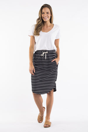 Elm - Fundamental Isla Skirt - Black / White Stripe