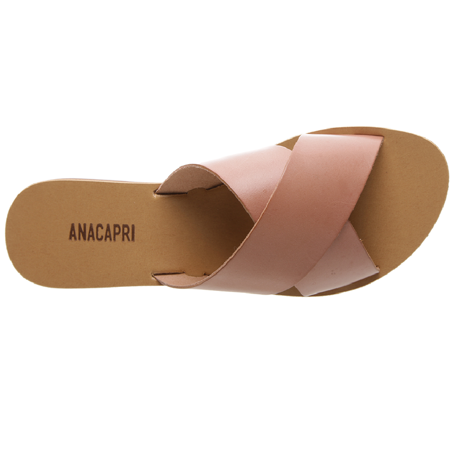 Anacapri - Leather Cross Slides - Rosa