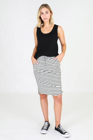 3rd Story - Olivia Skirt - Grey Stripe