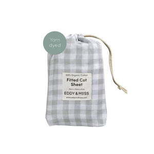 Eddy & Moss - Fitted Cot Sheet - Gingham Fog