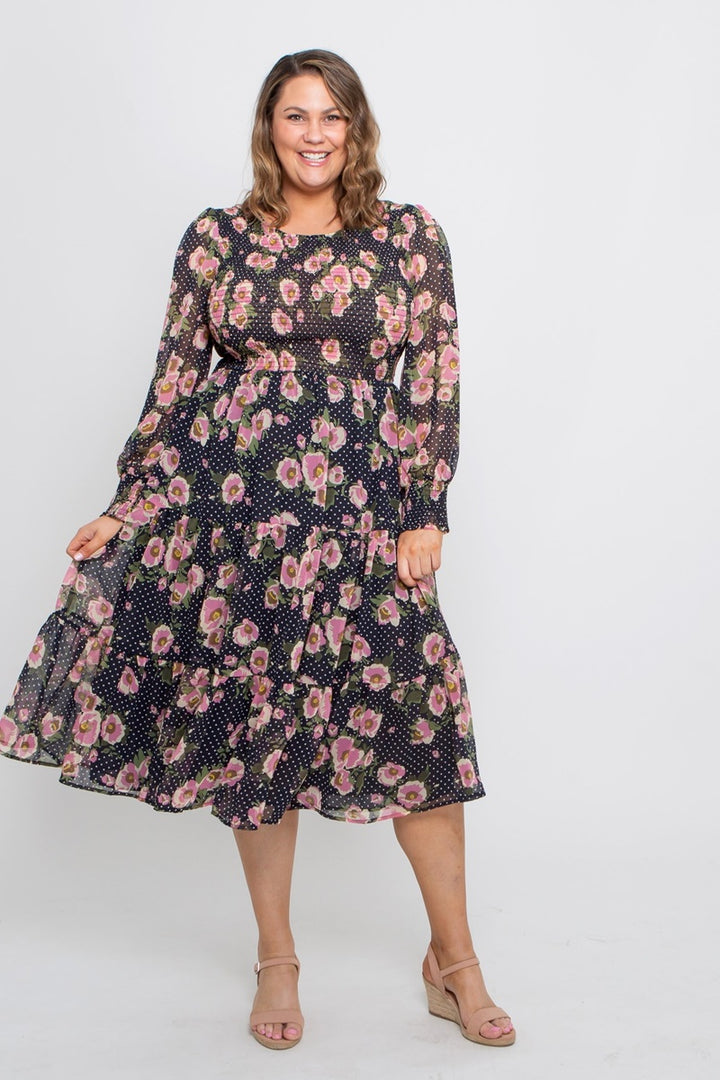 Leoni Curve - Caily Dress - Navy Pink Floral