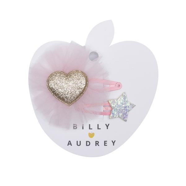 Billy Loves Audrey - Gold Glitter Heart Clip Duo