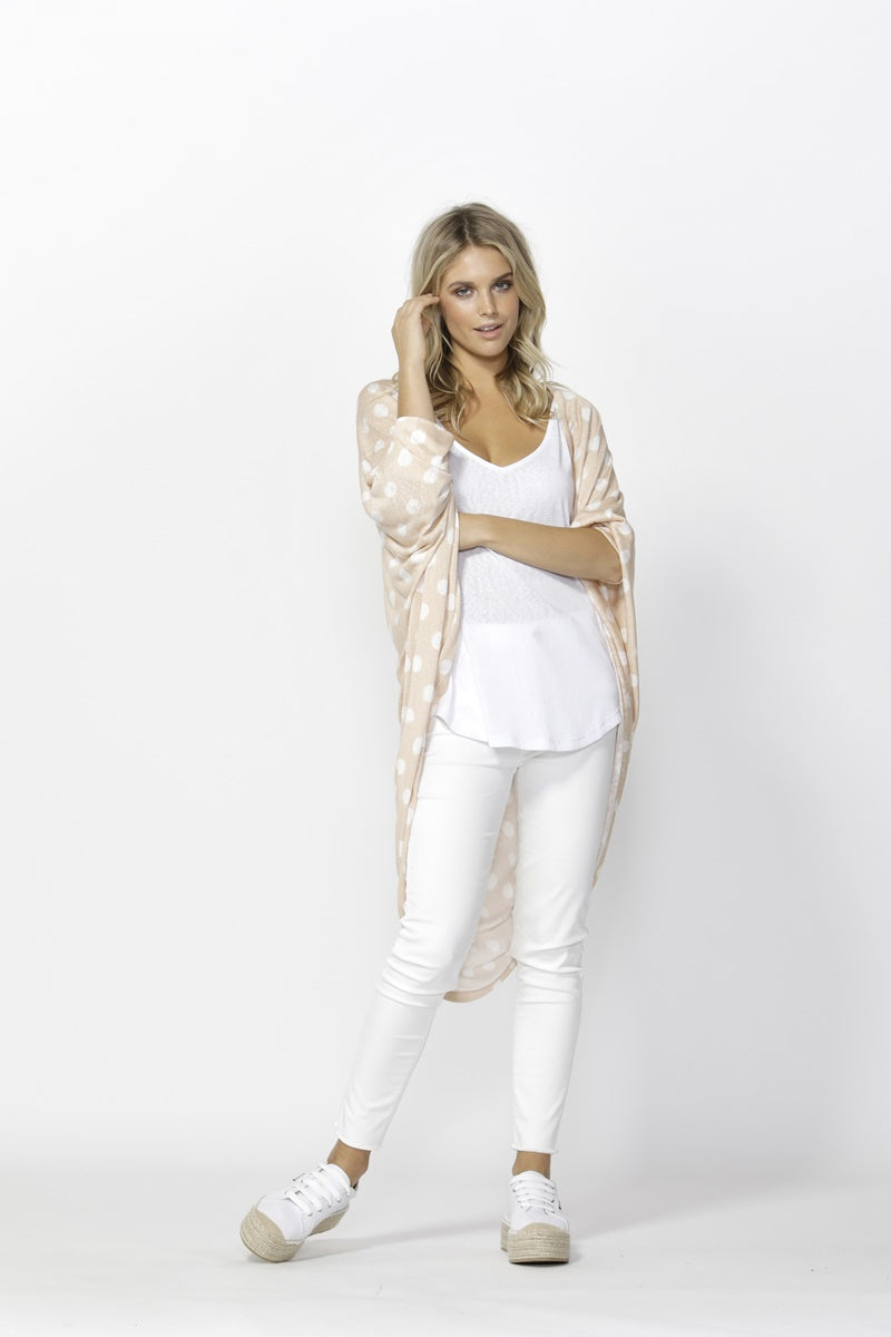 Betty Basics - Santorini Drape Cardigan - Blush/White