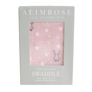 Alimrose - Muslin Swaddle Bunny Star Pink