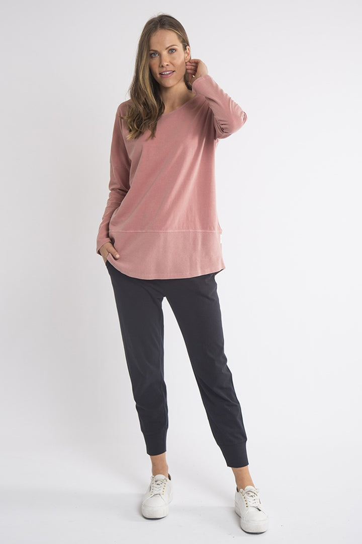 Elm - Fundamental Long Sleeve Rib Tee - Pink