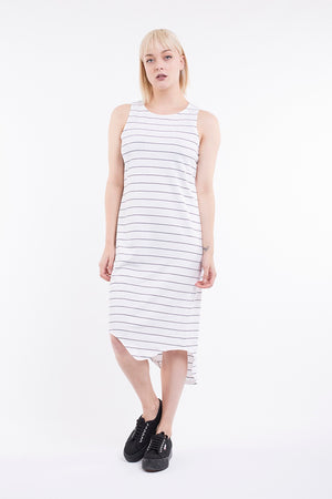 Silent Theory - One in Eight Stripe Midi Dress - White / Mid Navy
