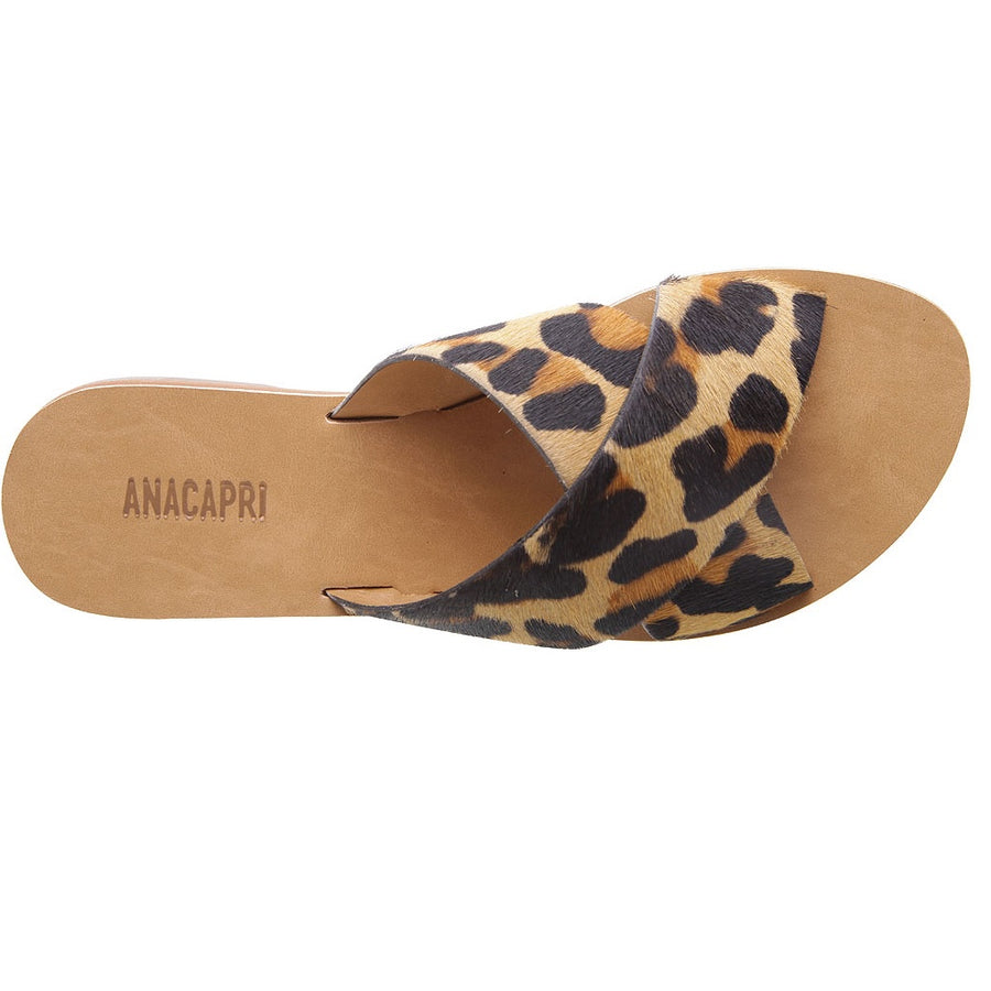 Anacapri - Leather Cross Slides - Animal