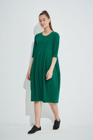 Tirelli - 3/4 Sleeve Diagonal Seam Dress - Sycamore